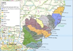 Catchment Areas that fall within the proposed boundary of the new Essex and Suffolk Rivers Trust