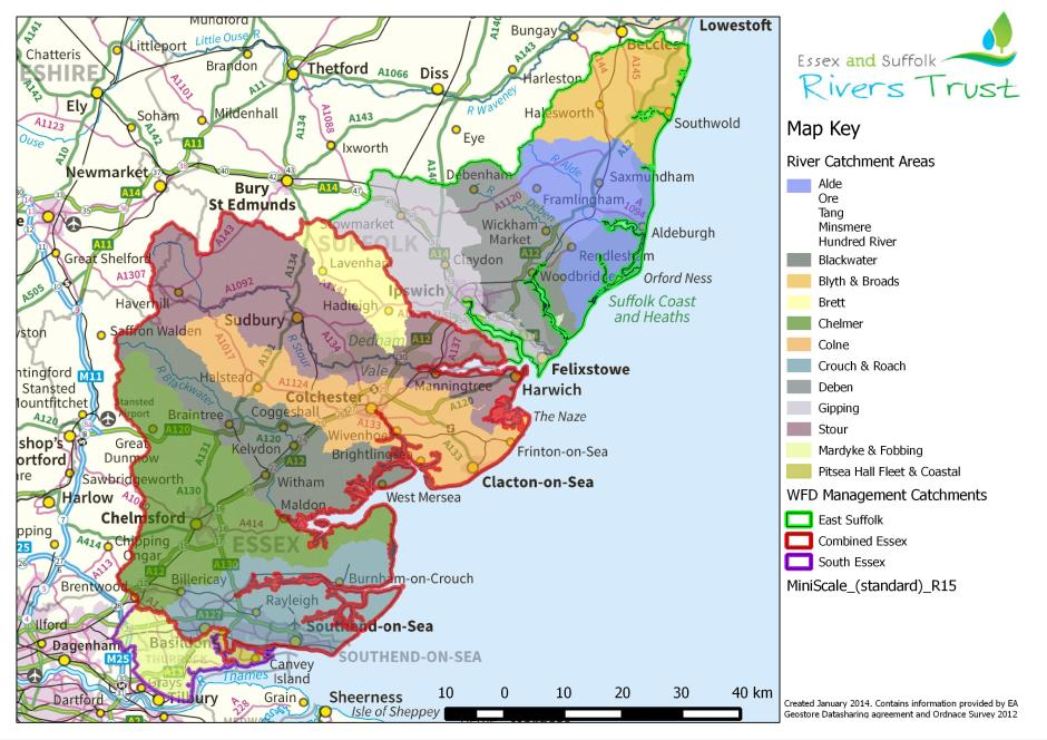 Essex and Suffolk operate throughout various catchments.