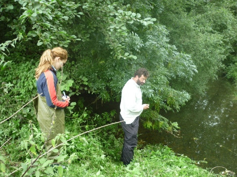 Experts from CBEC surveying the potential fish passage options at Langford in Essex. River Blackwater. Funded by the EA.