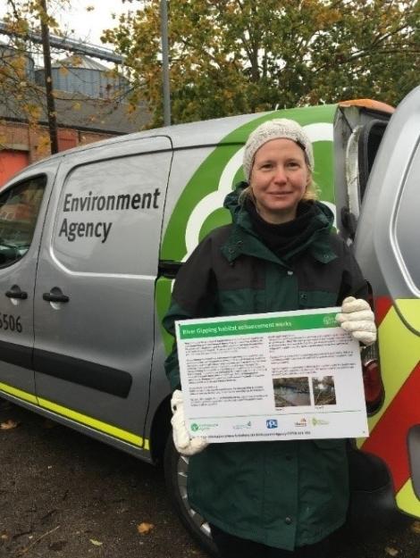 Nicola Robinson (EA) holding information board